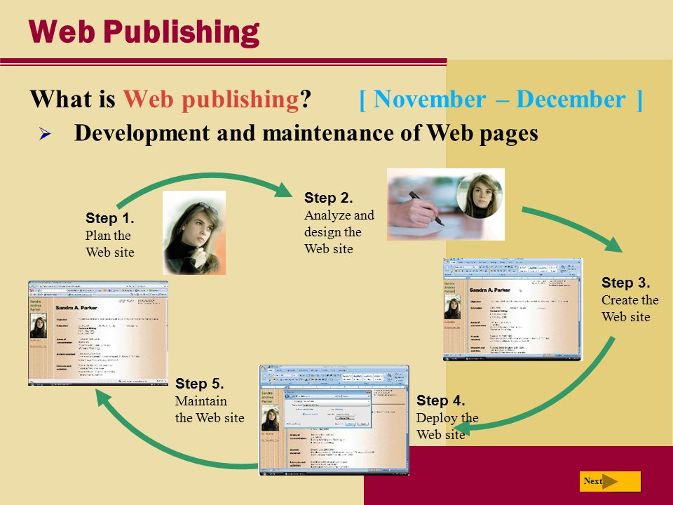 Web Publishing What is Web publishing [ November – December ]